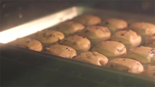 美食曲奇饼干制作烘焙烤箱融化过程变化近距离特写高清视频实拍