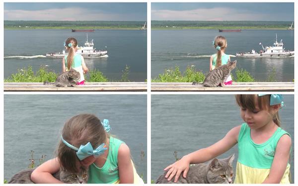 温馨小女孩抱着可爱活泼小猫海岸边凳子玩耍船只行驶高清视频实拍