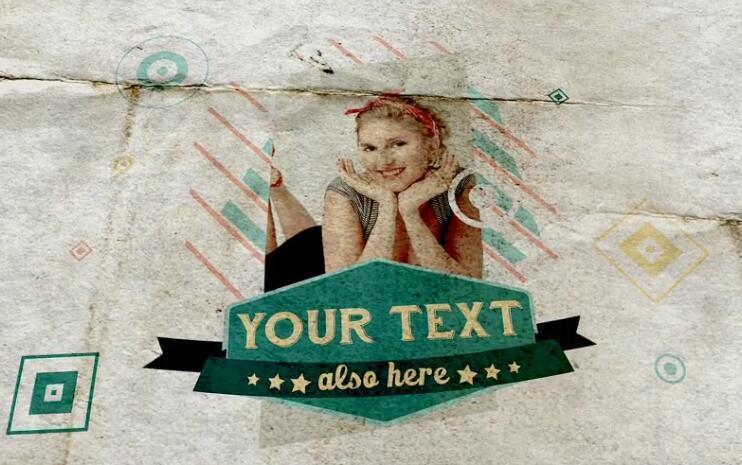AE模板 复古时尚运动青春定制照片影片彩色标签模板 AE素材