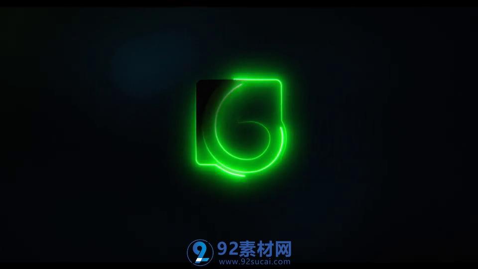 AE模板 酷炫潮流快速霓虹灯闪亮标志黑色背景LOGO模板 AE素材