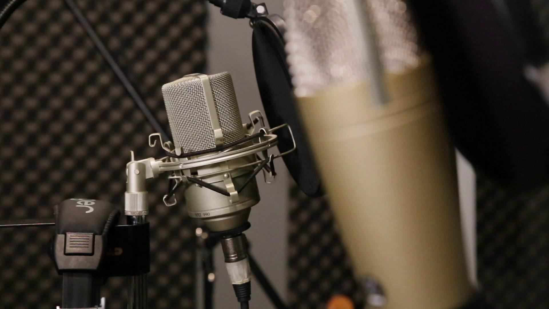 錄音室話筒麥克風近焦特寫鏡頭高清實拍