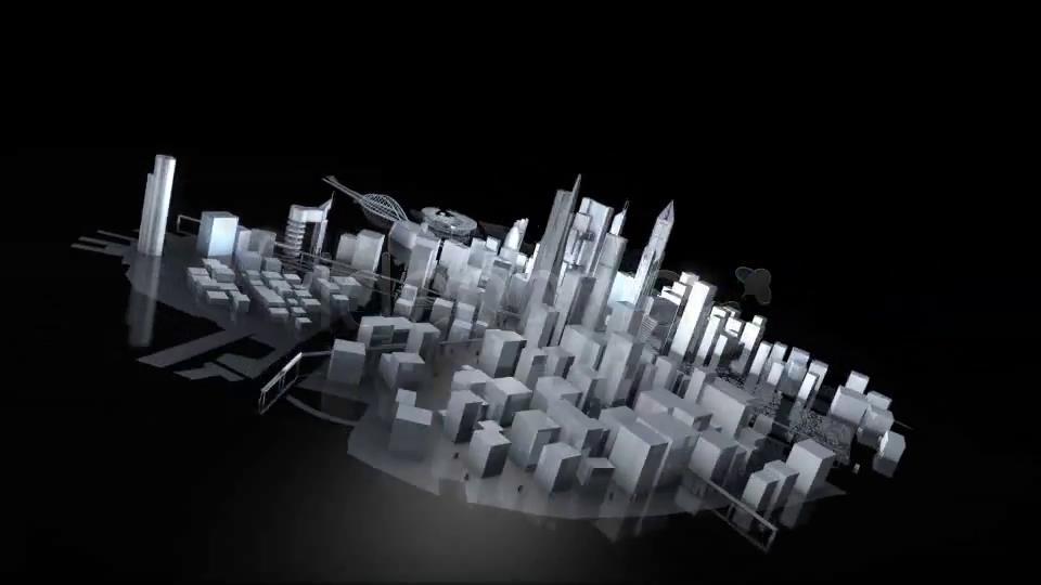 AE模板 大气质感三维城市模型旋转演绎LOGO标志模板 AE素材