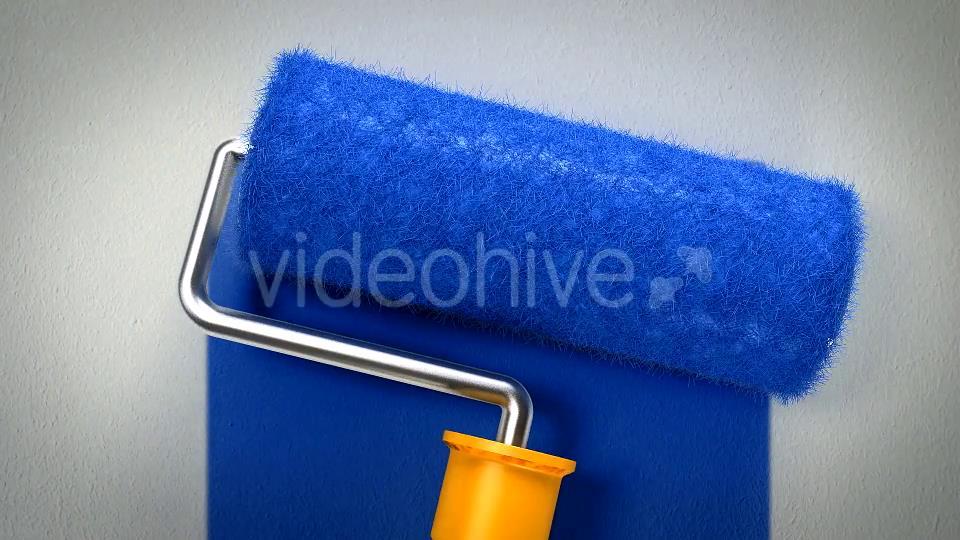 AE模板 簡潔創意油漆滾筒粉刷藍色展示動畫LOGO模板 AE素材