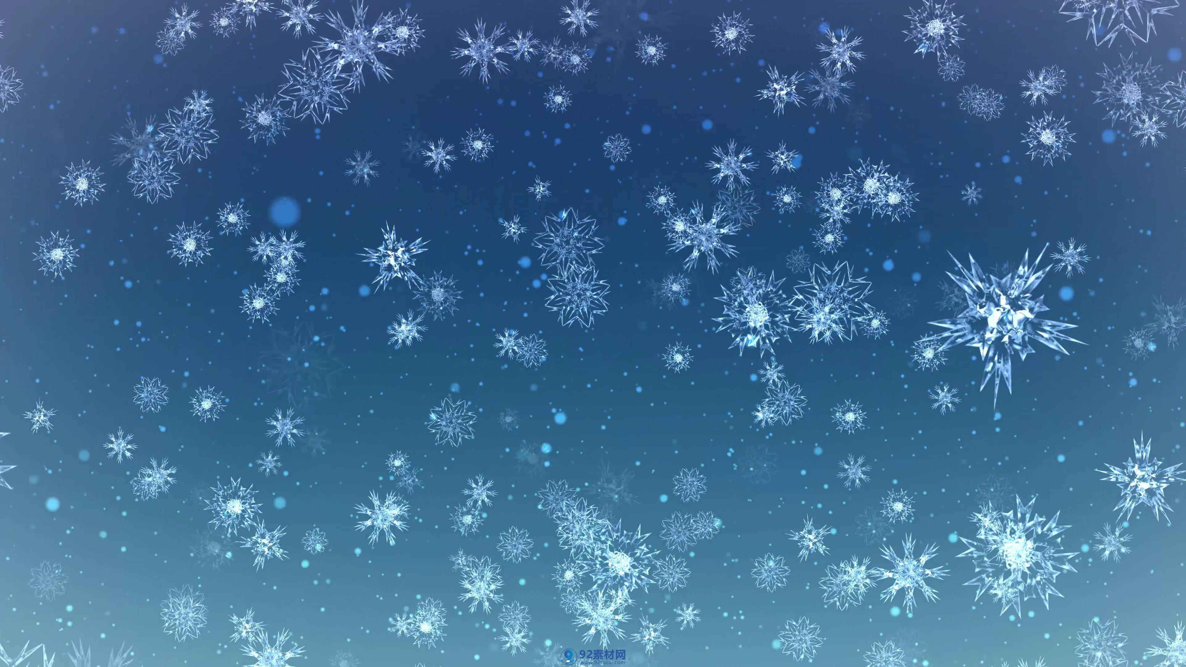 蓝色背景逼真冰晶雪花飘落视频素材