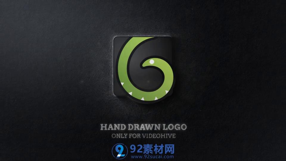 ae模板 手绘素描涂鸦上色青蛇标志logo转换模板 ae素材