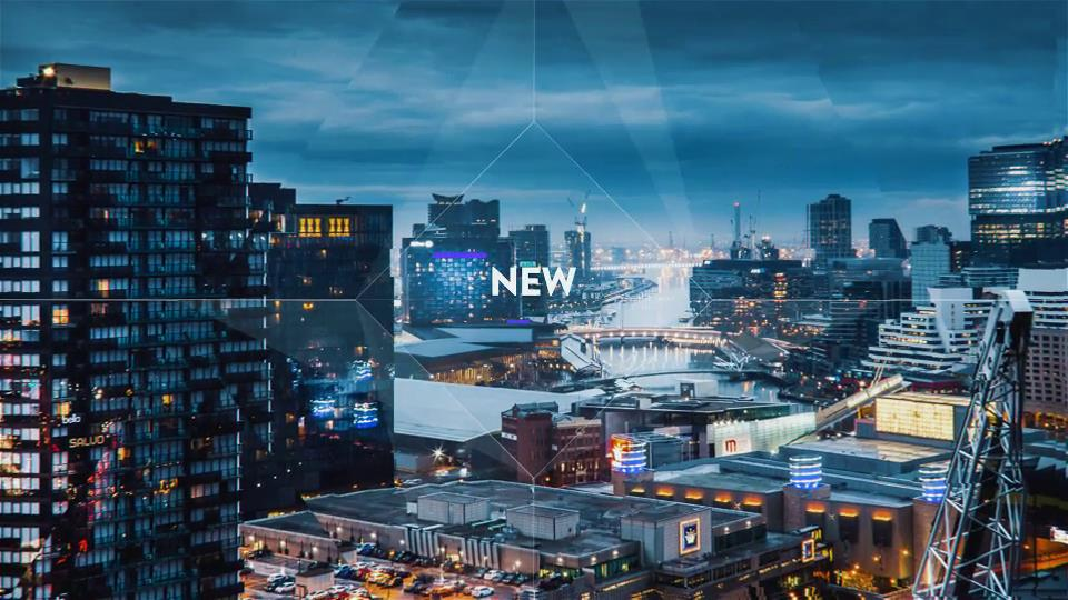 ae模板 城市风景图片切换不规则线条元素幻灯片开场模板 ae素材