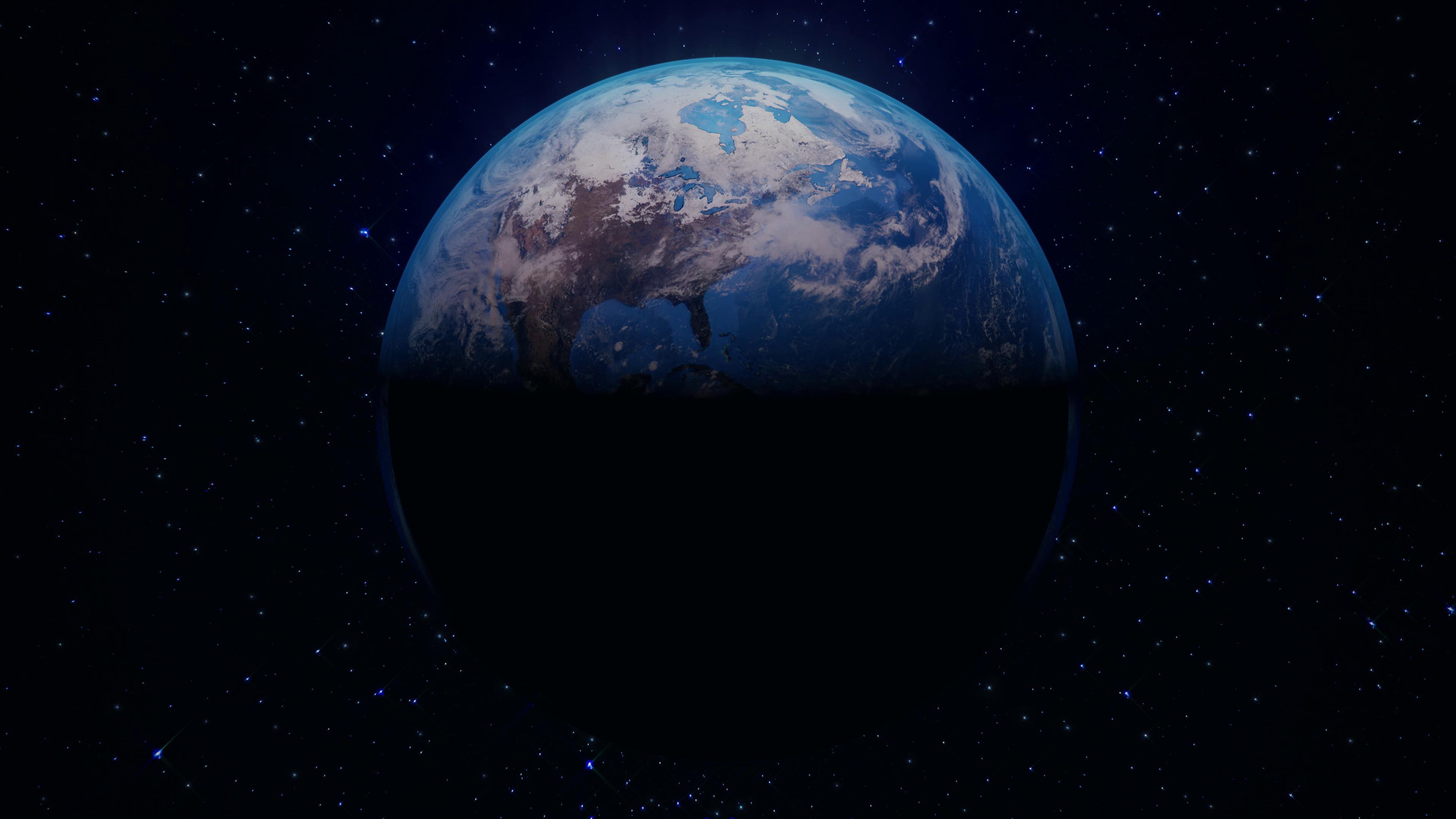 闪耀星空光照亮地球渐渐展示出来视频素材