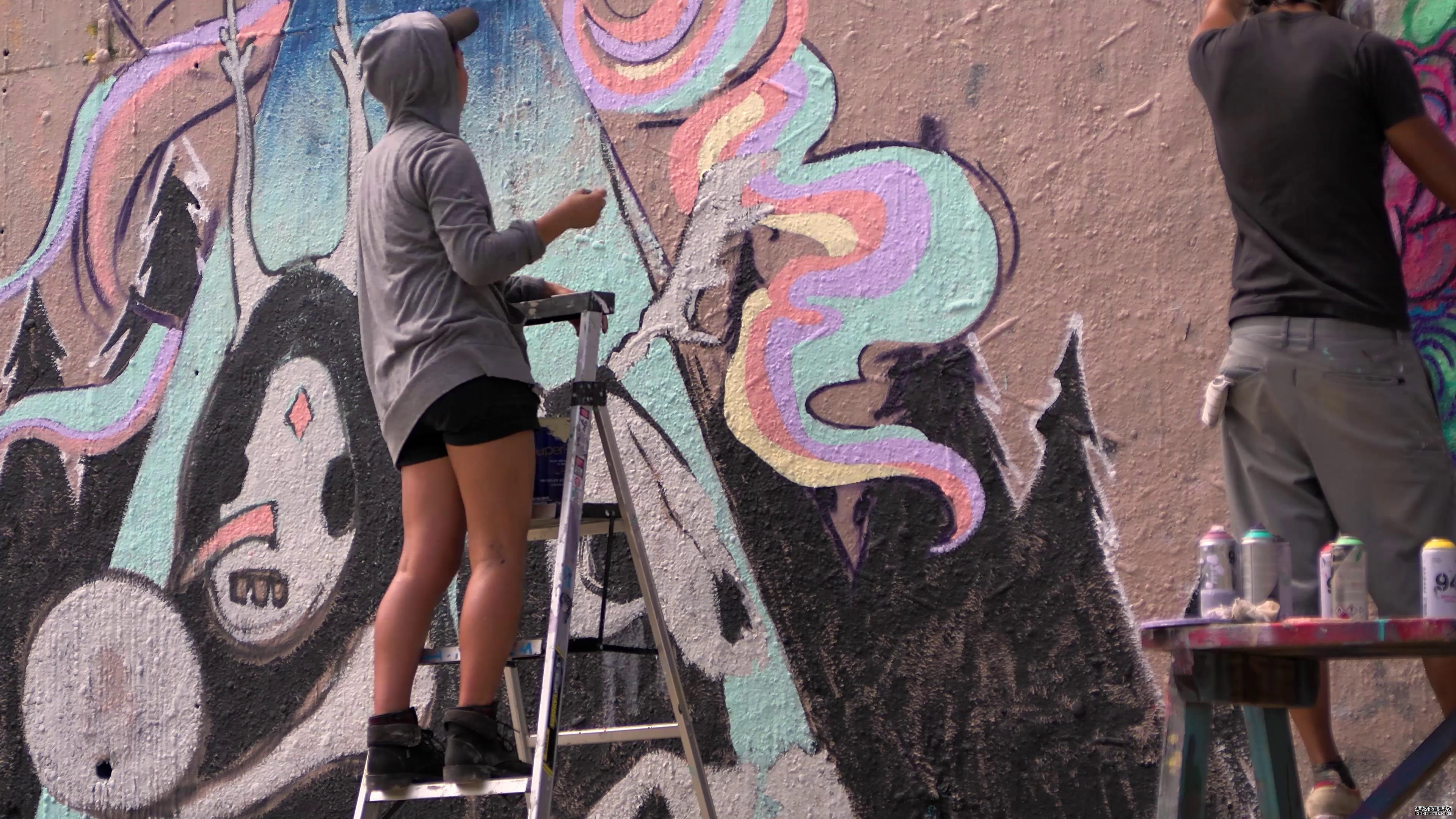 公园街头艺术壁画画家高清实拍