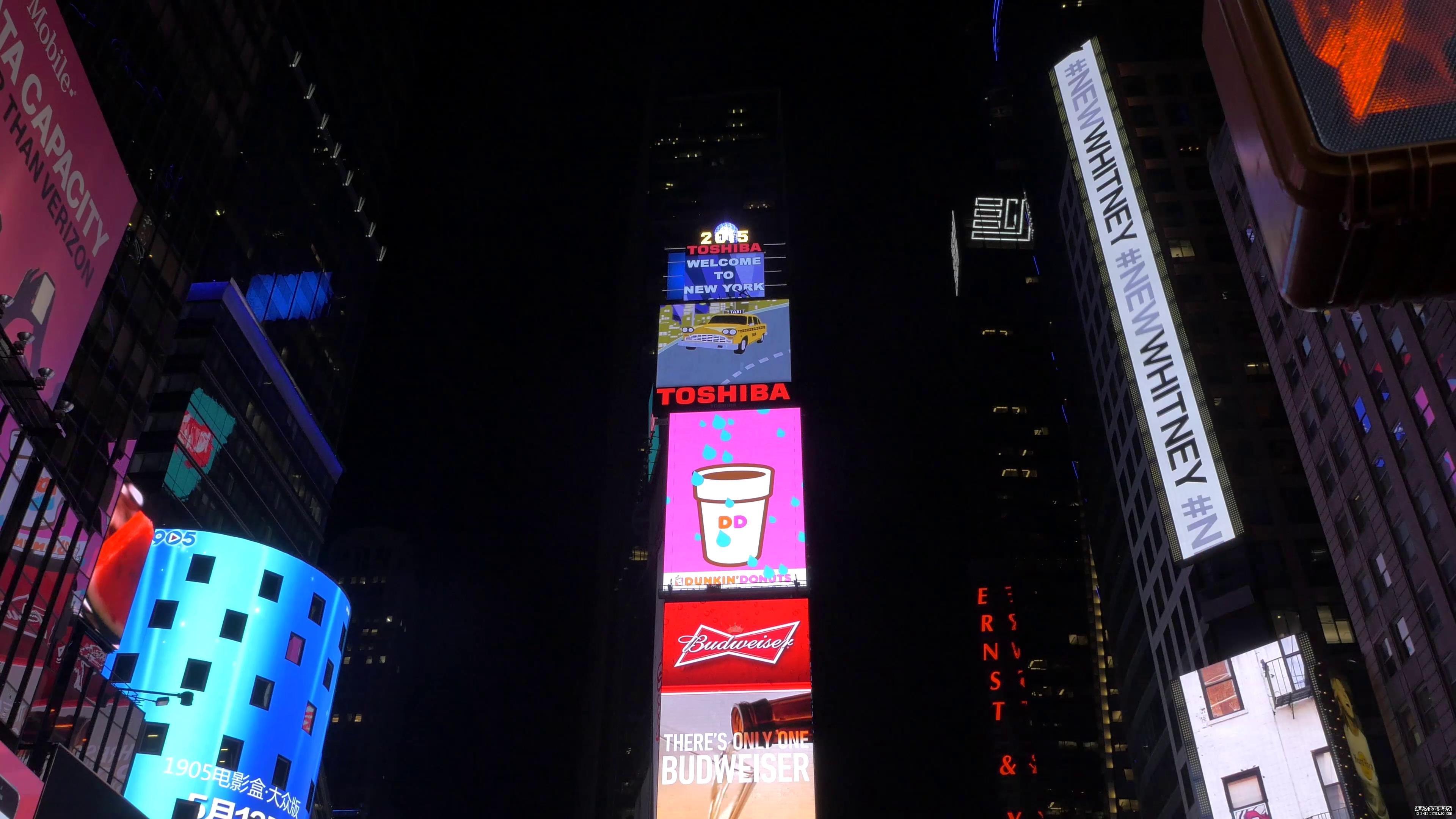 美国时代广场近景商业广告转场高清实拍
