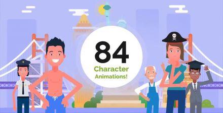 MG动画可爱卡通人物元素AE模板 视频素材 动画教程