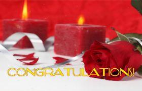 浪漫玫瑰花红蜡烛祝贺文字视频素材