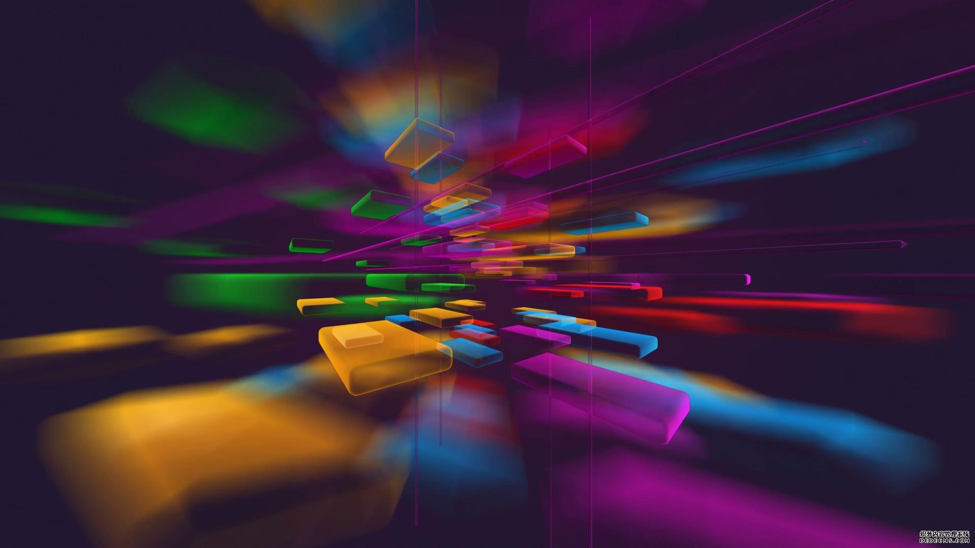 3D立体炫彩方块空间漂浮背景视频素材