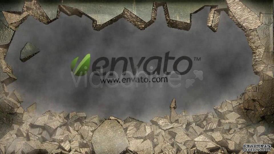 AE模板 大气震撼撞击墙面破裂碎石落下展示片头模板 AE素材