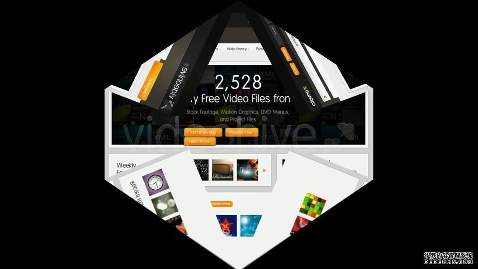 AE模板 3D网页图片折成信封寄出特效片尾模板 AE素材