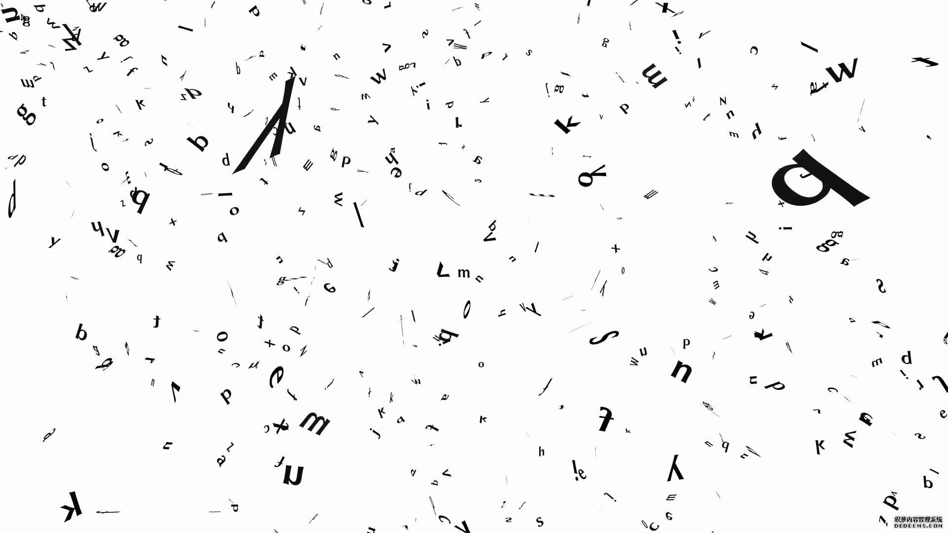 英文字母半空漂浮纷纷掉落视频素材