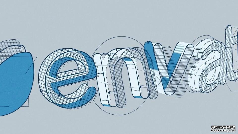 AE模板 卡通3D结构描线文字模型动画片头LOGO模板 AE素材
