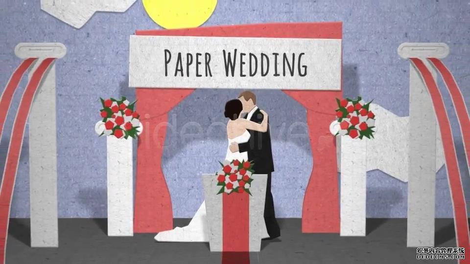 AE模板 简单浪漫剪纸风格婚礼卡通折纸动画模板 AE素材
