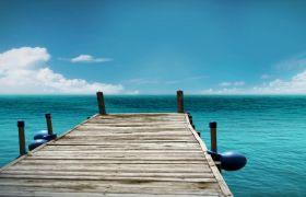 加勒比海岸木桥海水粼粼高清实拍